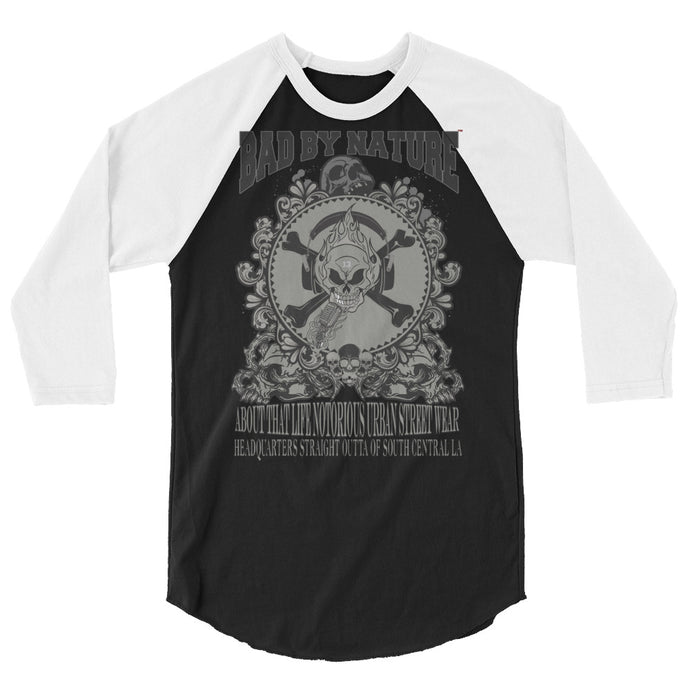 BAD BY NATURE OFFICAL TRADEMARK A STYLISH SPIN ON THE CLASSIC BASEBALL  3/4 SLEEVE RAGLAN SHIRT
