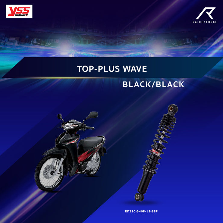 โช้คคู่ YSS TOP-PLUS WAVE  BLACK/BLACK (RD220-340P-12-88P)