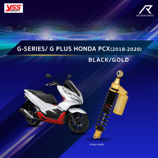โช้คคู่ YSS G-SERIES/G-PLUS HONDA PCX(2018-2020)  BLACK/GOLD (TC302-350TL)