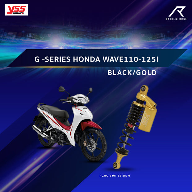 โช้คคู่ YSS G -SERIES HONDA WAVE110-125I BLACK/GOLD (RC302-340T-55-883M)