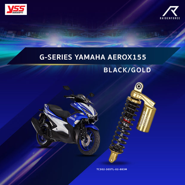 โช้คคู่ YSS G-SERIES YAMAHA AEROX 155 BLACK/GOLD (TC302-305TL-02-883M)