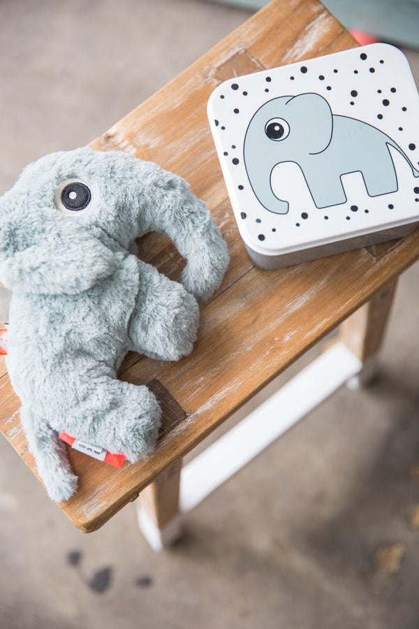 image of stuffed elephant toy and matching lunch box
