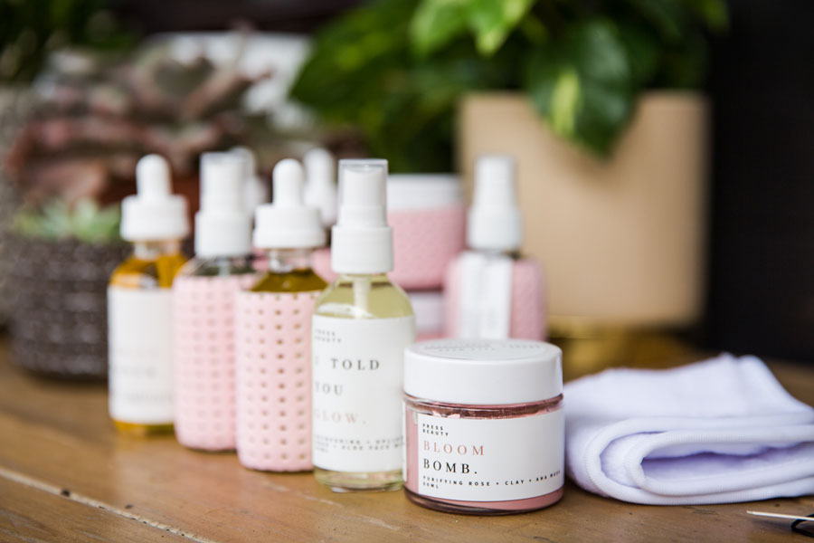 image of pink and white beauty products