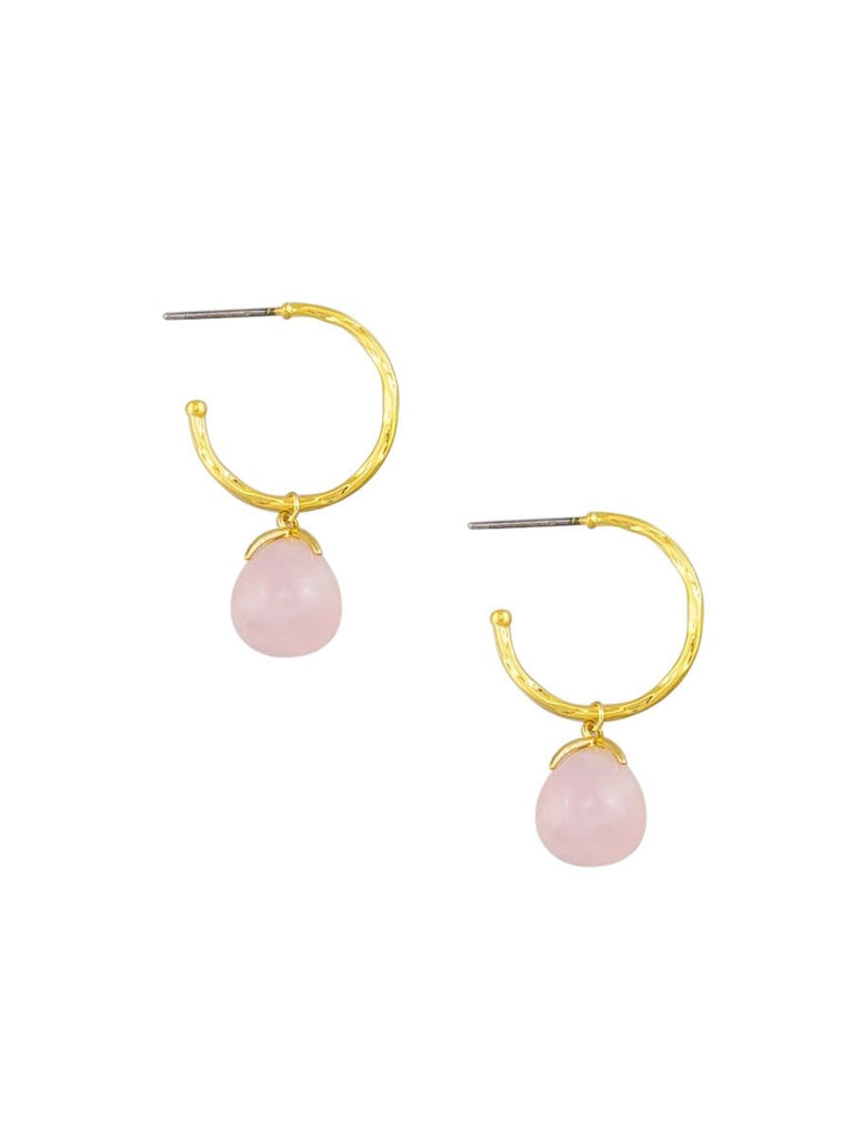 Gold & Pink Rain Drop Hoops