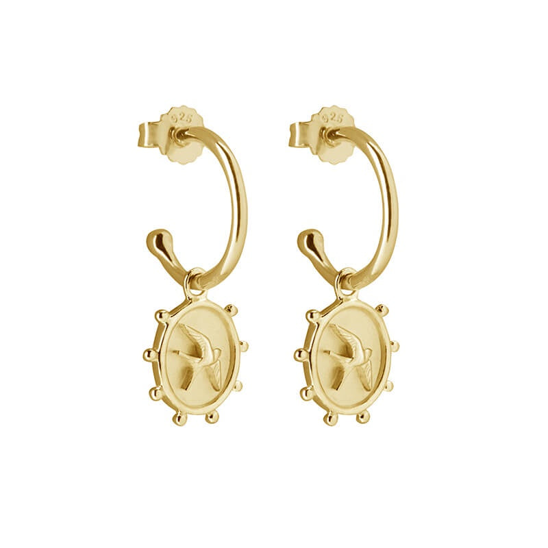 Murkani Freedom Earrings in 18KT Gold Plate (Swallow)