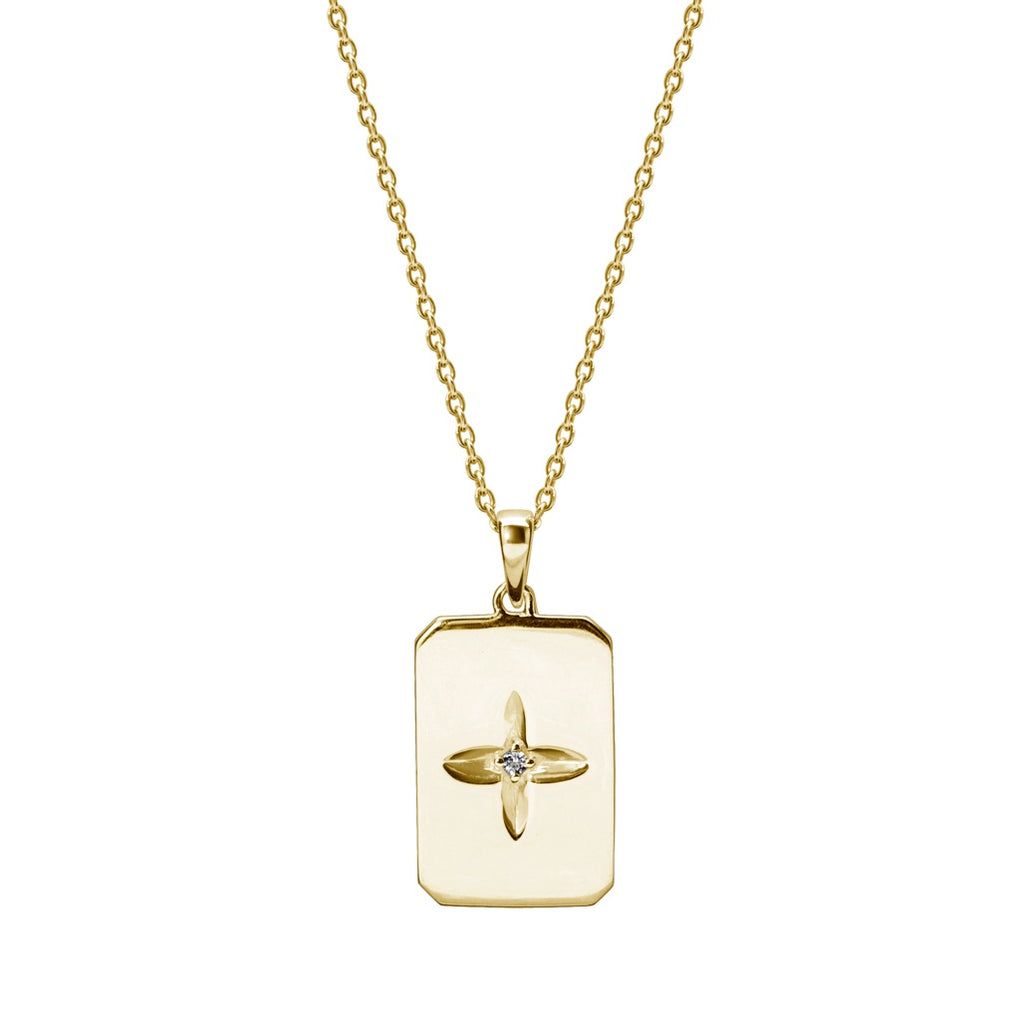 Murkani Desert Flower Rectangle Necklace In Yellow Gold