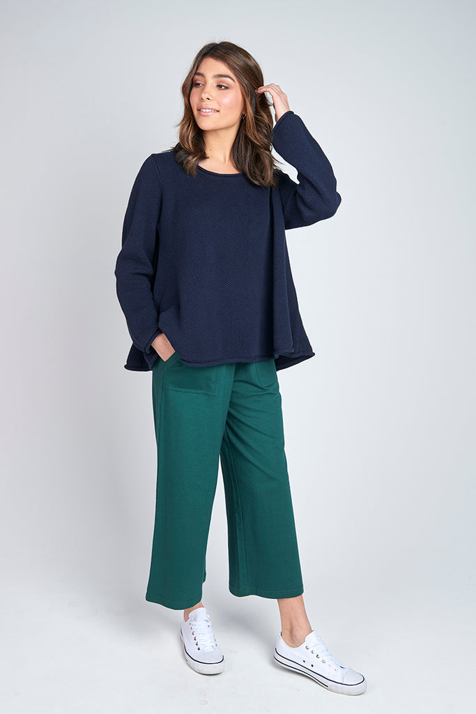 Torju Round Neck Knit Jumper Ocean