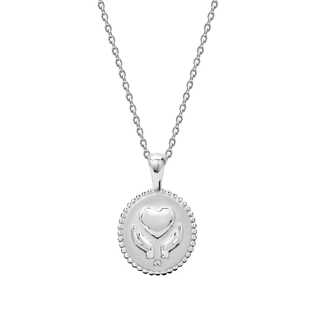 Murkani Freedom Healing Hands Necklace With White Topaz In Sterling Silver