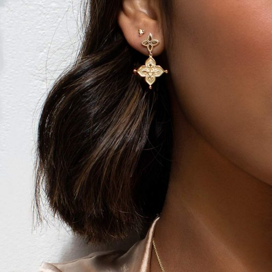 Murkani Love Earrings in Yellow Gold Plate