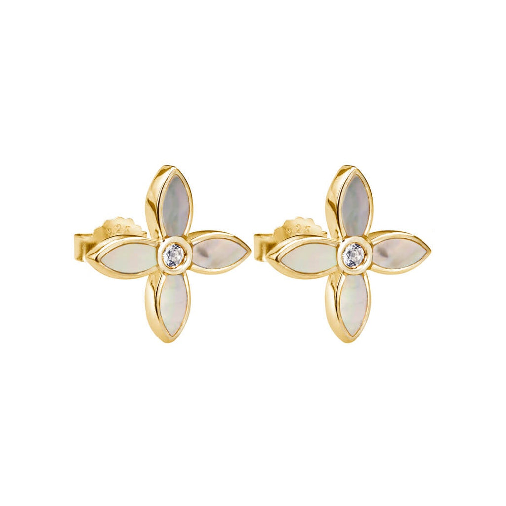 Murkani Desert Flower Small Earrings With Mother Of Pearl In 18 KT Yellow Gold Plate