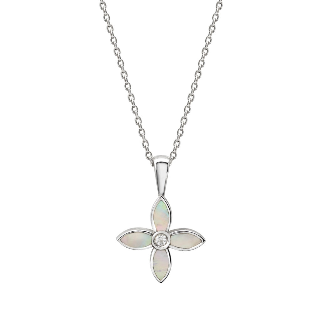 Murkani Desert Flower Necklace With Mother Of Pearl In Sterling Silver