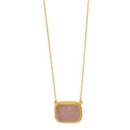 Rubyteva Rectangle Rose Quartz Carved Glass Necklace