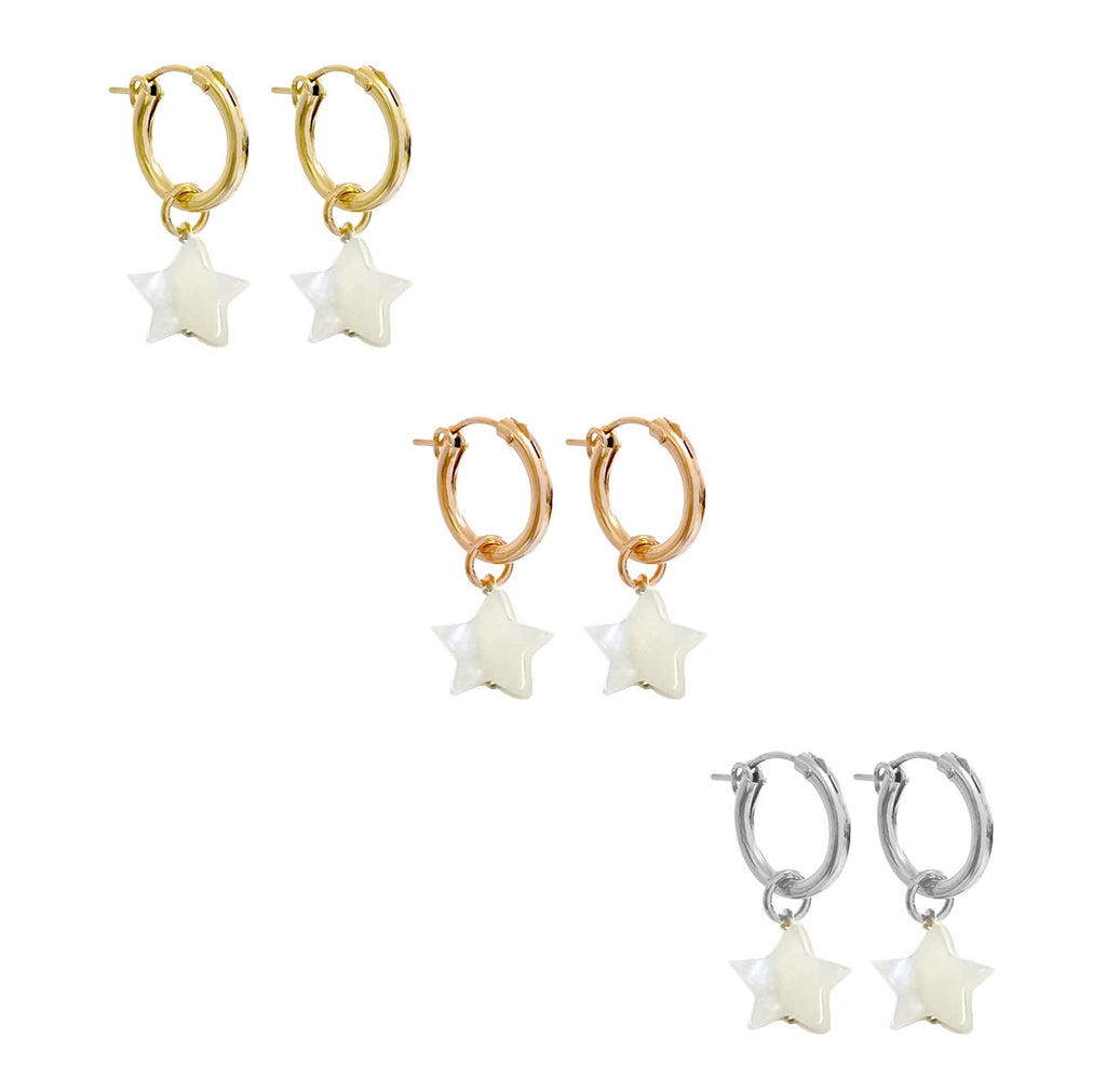 Misuzi Paris Hoop Marni Earring with Mother of Pearl Star