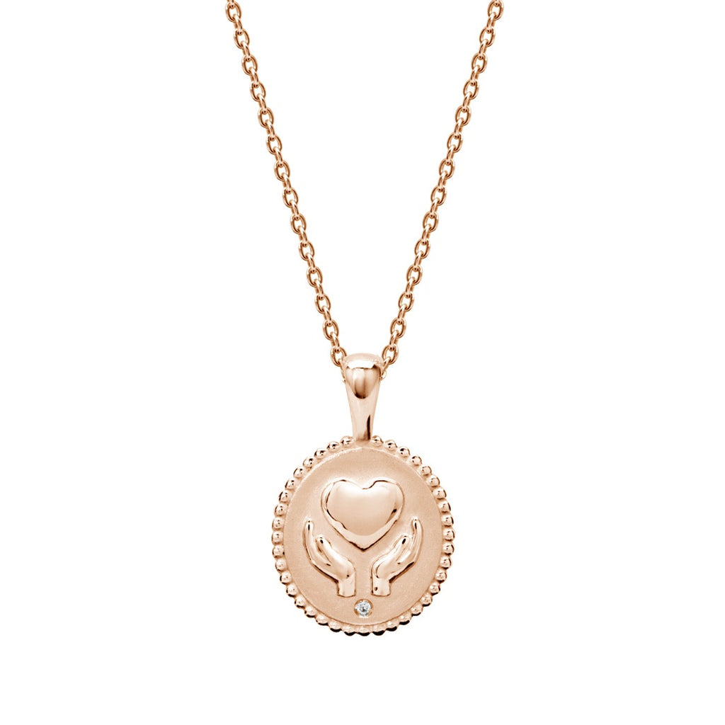 Murkani Freedom Healing Hands Necklace With White Topaz In Rose Gold Plate