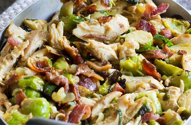 Chicken, Bacon & Creamy Parmesan Garlic Brussels Sprouts