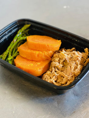 Pulled Pork, Sweet Potatoes, & Asparagus