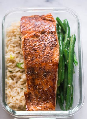 Salmon, Wild Rice, & Steamed Green Beans