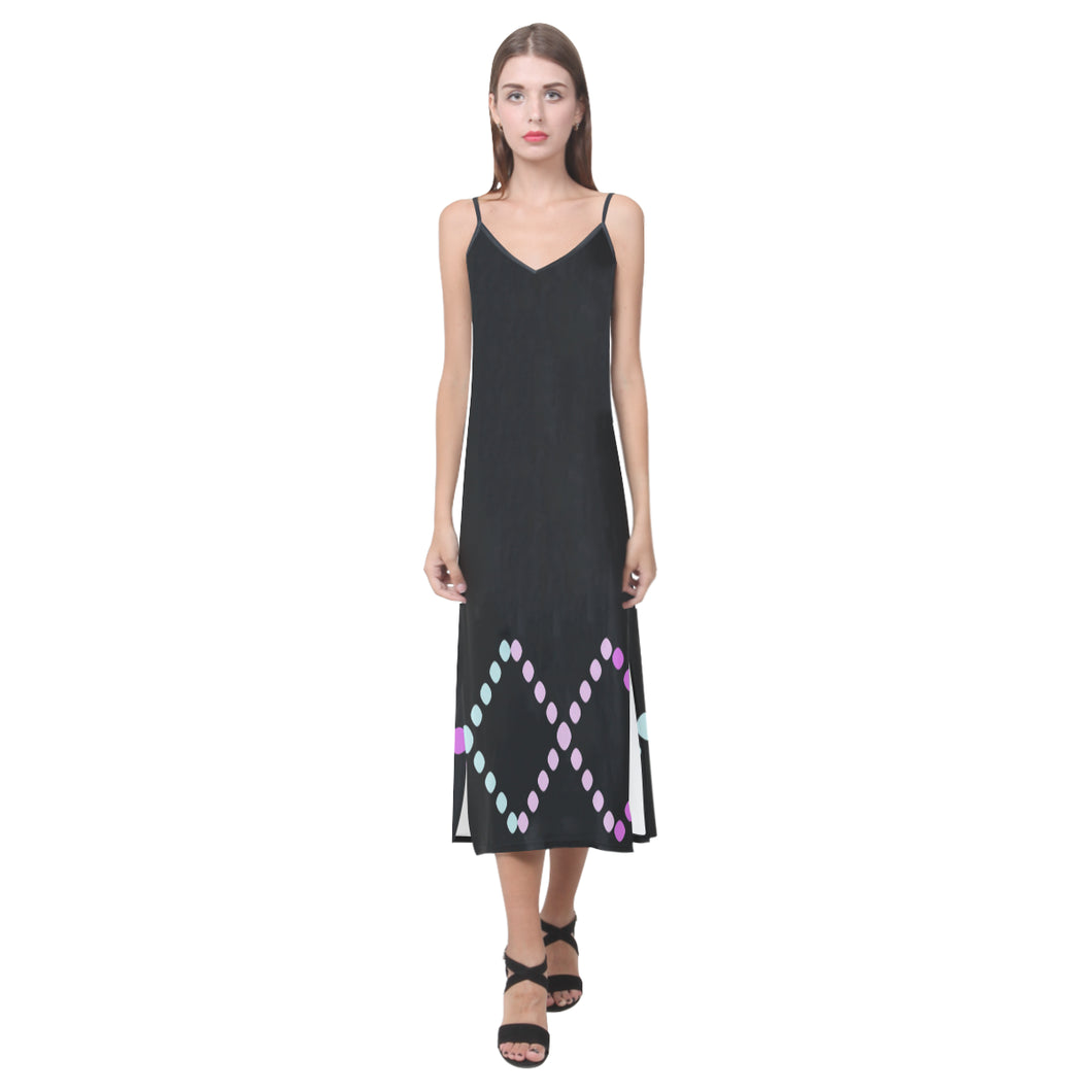 Black, Pink, Lavender and Blue Dot Design © V-Neck Open Fork Long Dress(Model D18)