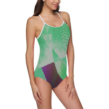 Green, Purple and White Abstract Design © Women's Slip One Piece Swimsuit (Model S05)