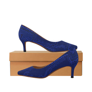 Blue Streak Design © Women's Pointy Toe Low Kitten Heel Pumps (Model 053)