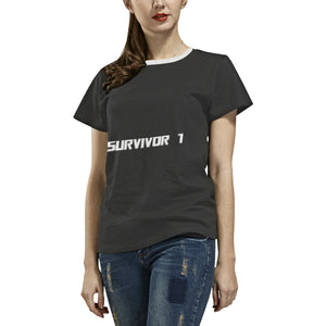 Black and White Survivor 1 With Text ® Women's All Over Print T-shirt (USA Size) (Model T40) (Large Size)