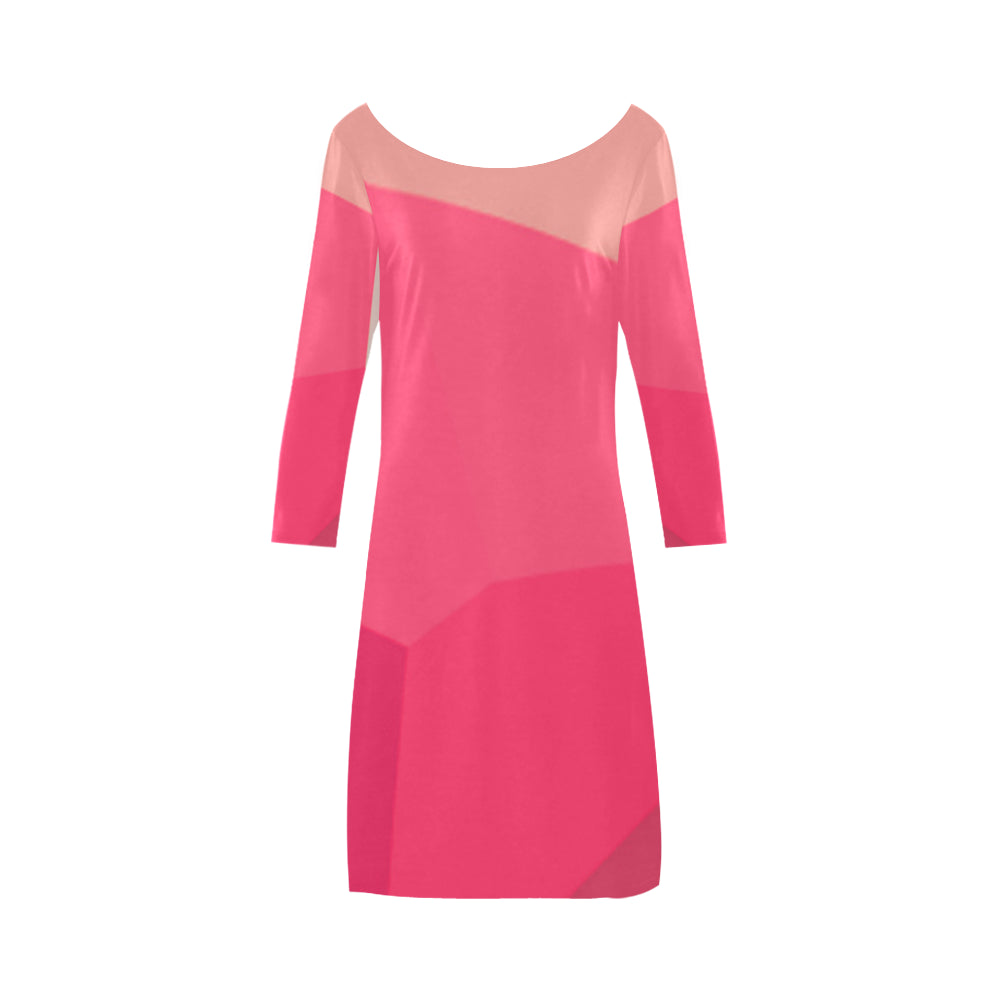 Shades of Fuscia, Punch and Pink Designs © Women's Boat Neck A-line Dress(Model D21)