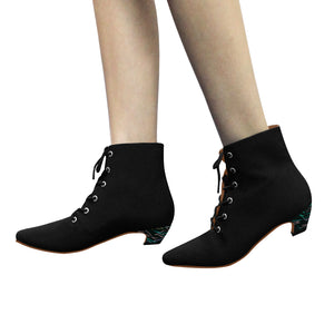 Black Boots With Color Line Heels Women's Chic Low Heel Lace Up Ankle High Boots (Model 052)