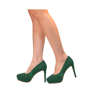 Green Swirl Design © Women's High Heels (Model 044)