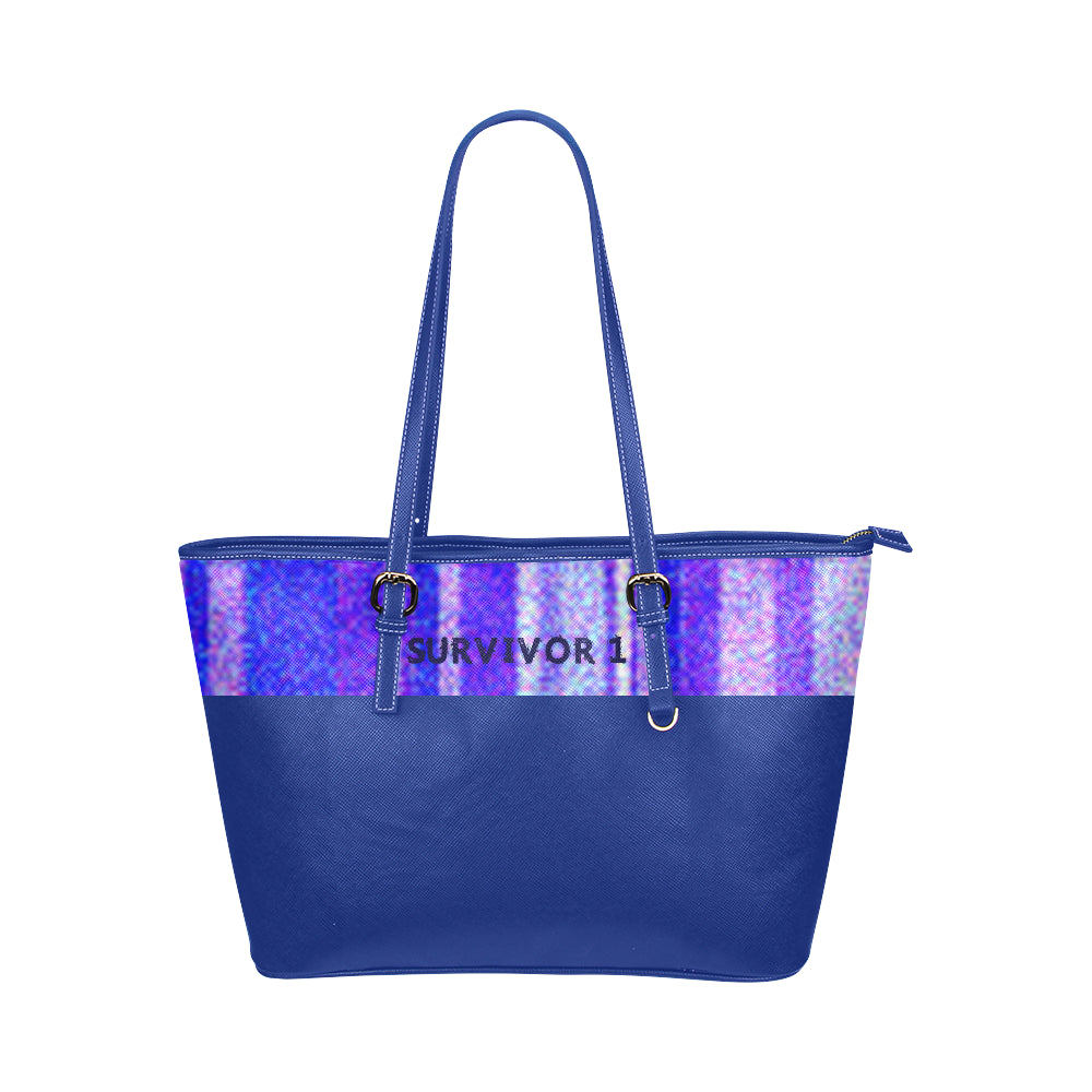 Blue, Lavender and White Shimmer Line Design With Survivor 1 Text Leather Tote Bag (Model1651) (Big)