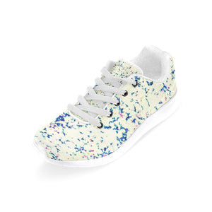 Blue, White, Lavender and Pink Color Splash Design Women's Sneakers (Model020) (Large Size)