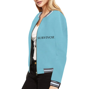 Blue Jacket With Black Survivor 1 Text ® Women's All Over Print Horizontal Stripes Jacket (Model H21)