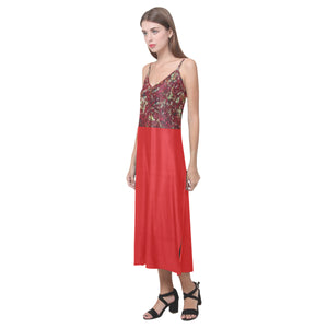 Red Splash Colour Design © V-Neck Open Fork Long Dress(Model D18)