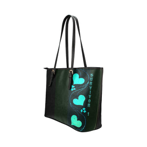Black and Teal Blue Heart Design With Survivor 1 Text Leather Tote Bag (Model1651) (Big)