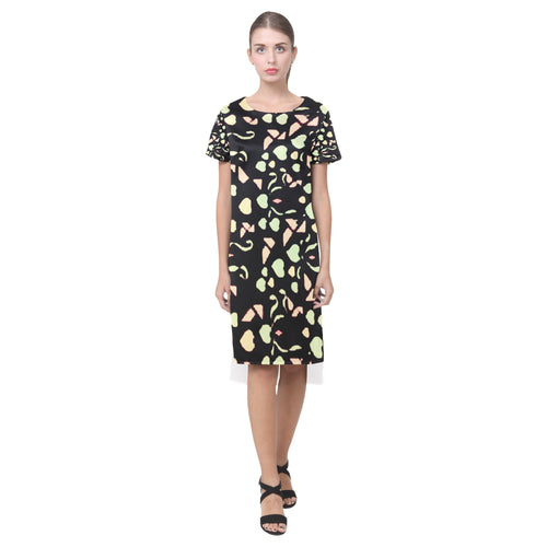 Black With Colorful Hearts Survivor 1 © Short Sleeves Casual Dress(Model D14)