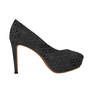 Black and Grey Diamond Floral Design © Women's High Heels (Model 044)