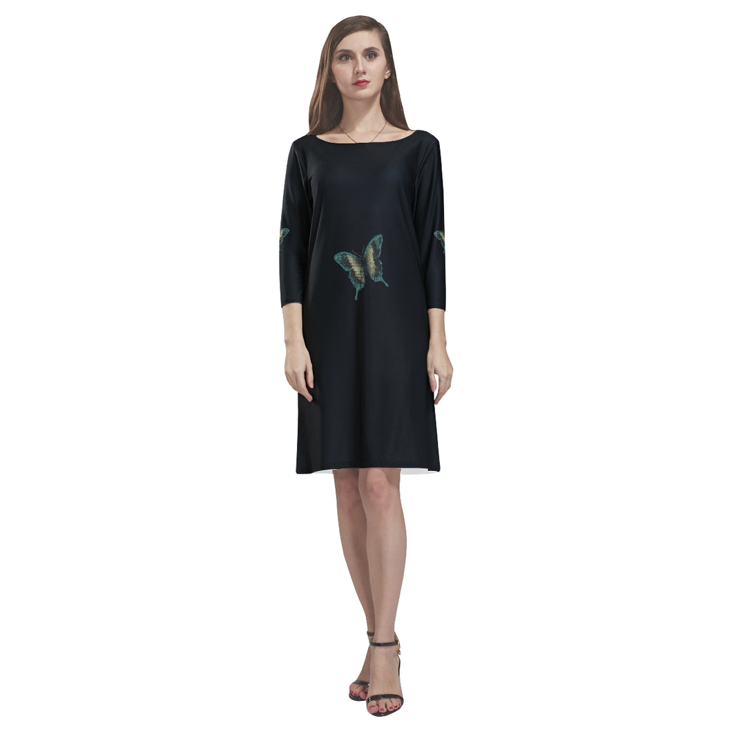 Black Butterfly Design © Loose Round Neck Dress(Model D22)