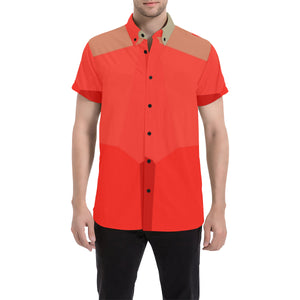 Shades of Orange and Brown Design Men's All Over Print Short Sleeve Shirt (Large Size) (Model T53)
