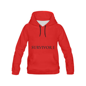 Red and Black Survivor 1 Text ® Women's All Over Print Hoodie (USA Size) (Model H13)