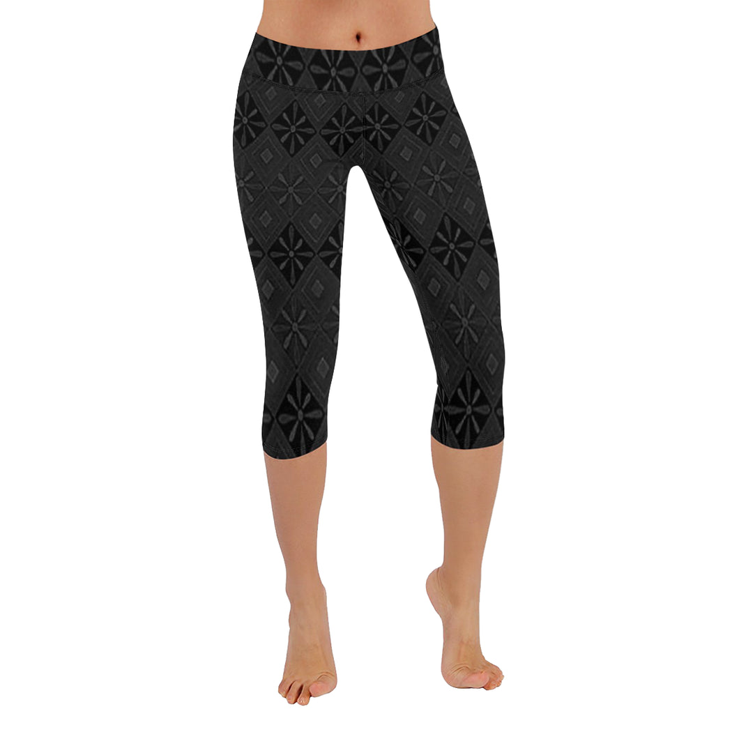 Black and Grey Diamond Floral Design © All-Over Low Rise Capri (Model L09) (Outside Serging)