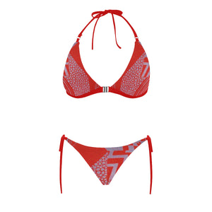 Red and Silver Lavender Abstract Design Sexy Halter Bikini Swimsuit (Front Buckle) (Model S08)