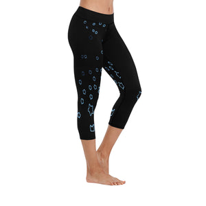 Blue and Black Stars © All-Over Low Rise Capri (Model L09) (Outside Serging)