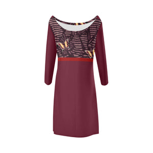 Carmine, Yellow and Burgundy Butterfly Design © Women's Boat Neck A-line Dress(Model D21)