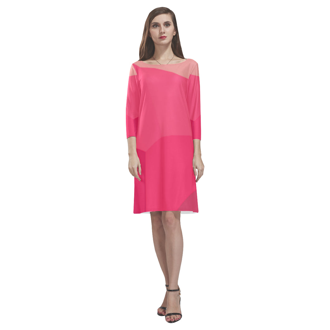 Fucia, Rouge and Pink Shade Design © Loose Round Neck Dress(Model D22)