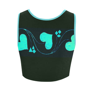 Misty Teal Heart Diamond Design © Women's Reversible Sports Bra (Model T42)