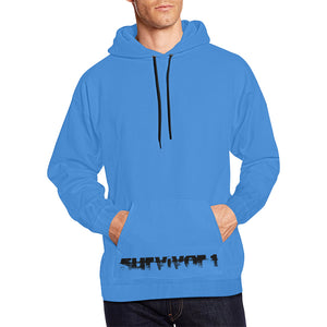 Blue and Black Text ® Men's All Over Print Hoodie Large Size (USA Size) (Model H13)