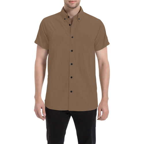 Brown Shirt With Black Survivor 1 Text On The Back Men's All Over Print Short Sleeve Shirt (Large Size) (Model T53)