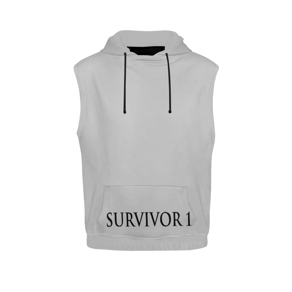 White and Black Survivor 1 Text ® Men's All Over Print Sleeveless Hoodie (Model H15)