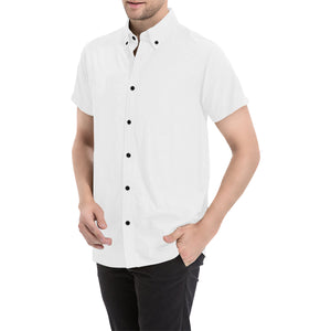 White Shirt With Black Buttons and Black Survivor 1 Text On The Back Men's All Over Print Short Sleeve Shirt (Large Size) (Model T53)
