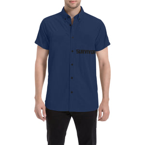 Blue With Black Survivor 1 Text Men's All Over Print Short Sleeve Shirt (Large Size) (Model T53)