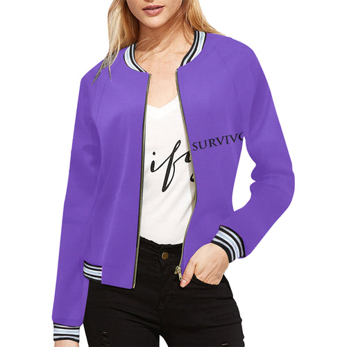 Purple Jacket With Black Survivor 1 Text ® Women's All Over Print Horizontal Stripes Jacket (Model H21)
